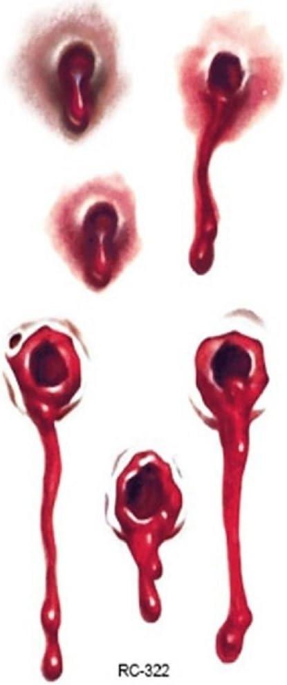 Tatuaje Temporal disfraz Halloween agujero de bala sanguinolent ...