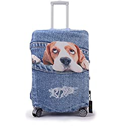 Luggage Covers Protector 3D Denim Animals Fit 18-30 Cover With Buckle And Tag