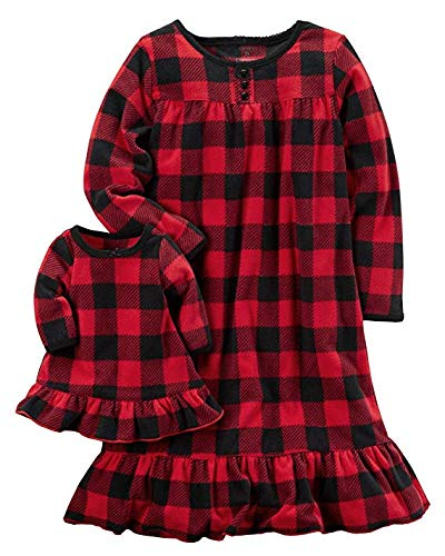 Buffalo Girl - Carter's Toddler Girls 2-Pk. Buffalo-Check Nightgown & Doll Nightgown Set, Red , 5T