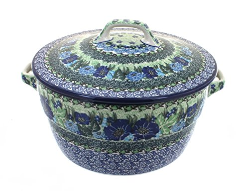 Blue Rose Polish Pottery Sapphire Fields Round Baker with (Round Blue Sapphire Rose)