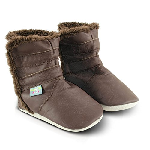 Snuggle Feet - Suaves Cargadores De Cuero Del Bebé Marron Clasico (0-6 meses): Amazon.es: Bebé