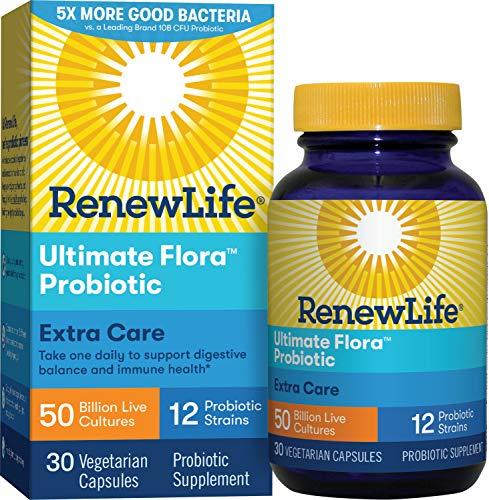 Renew Life Adult Probiotic – Ultimate Flora Extra Care Probiotic Supplement for Men & Women – Shelf Stable, Gluten, Dairy & Soy Free – 50 Billion CFU – 30 Vegetarian Capsules