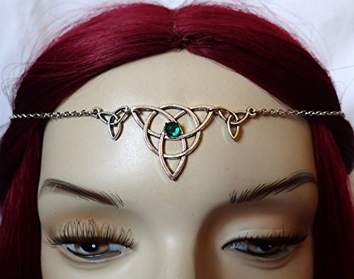 Green Celtic Triple Triquetra Tinity Knot Elven Elf Silver Circlet Headpiece Headdress Crown Rennaissance Medieval Halloween Costume