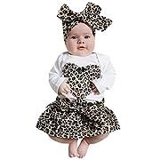 TiTCool 2017 New Baby Leopard Print Love Khaki Suit Tops+Leopard Skirt Headband Se (3M, Coffee)