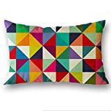 Allywit Rectangle Cushion Cover Silk Throw Pillow Case Pillowcase (F)