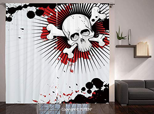 Thermal Insulated Blackout Window Curtain [ Halloween,Skull with Crossed Bones over Grunge Background Evil Scary Horror Graphic,Pearl Red Black ] for Living Room Bedroom Dorm Room Classroom Kitchen Ca]()