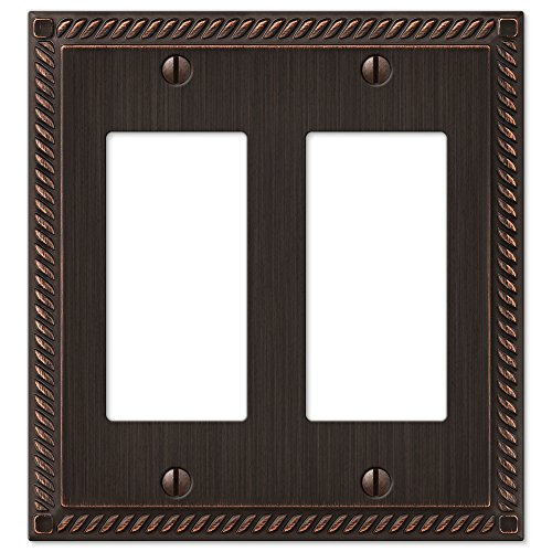 Amerelle 54RRVB Georgian Aged Bronze Cast 2 Rocker Wallplate Antique Bronze Wall Plate