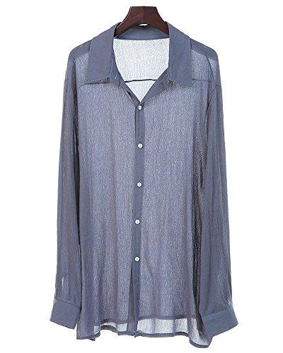 Lino Camicia Maniche Spiaggia Estate Elegante Lunghe Lavoro Regular Shirts Casual Grigio Classico A Puro Slim Camicie Uomo Fit Shallgood Colore In Sxwqz55t4