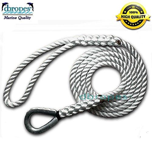 """DBROPES 3 Strand Mooring Pendant 100% Nylon Rope with Heavy Duty Thimble Made in USA (1/2"""" x 12"""