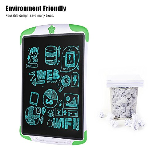 Electronic Tablet Board, Digital Drawing Tablet Handwriting Pads, 10 inch Portable Electronic Tablet Board for Kids, Family, Adult Doodle/Graffiti/E-Writing with Random Stencil (Green) by Dust2Oasis (Image #2)