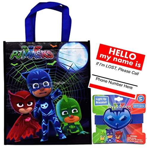 Amazon.com | Pj Masks Catboy Inspired Reusable Halloween Trick Treat Candy Loot Bag!! Plus Safety First Sticker & Visibility Light Up Bracelet!: Tumblers