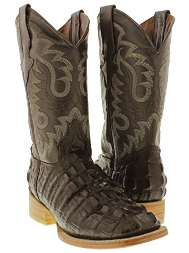 Team West - Men's Brown Crocodile Tail Design Leather Cowboy Boots Square 7.5 2E US