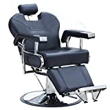 Sliverylake Reclining Hydraulic Barber Chair Salon Beauty Equipment Hair Styling Shampoo (Black)