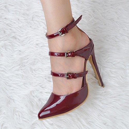 Kolnoo Womens Fashion Handmade 11cm Three Buckles Slingback High Heel Party Sandals Shoes Chocolate JPPUm9