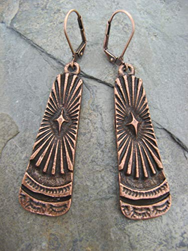 Sunburst Copper-Plated Earrings Rustic Boho Artisan Jewelry