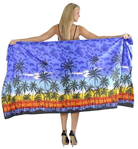La Leela Badeanzug Badeanzug Plus Größe Leichte Sarong Wickelkleid Bikini Vertuschung Königsblau_3057 30u6WOe
