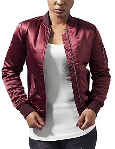 Mujer Chaqueta Ladies Burgundy Satin Jacket Classics Urban Rojo Bomber 606 para WSzP0nx