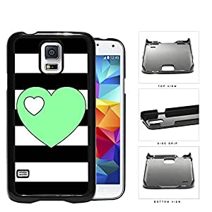 Black and White Horizontal Stripes Pattern with Mint Green Heart in Center Hard Snap on Phone Case Samsung Galaxy S5 I9600