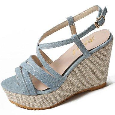 YFF Sandales femmes Confort d'été occasionnels de PU Crochet et boucle Talon Bleu clair,NOUS,6 / EU36 / UK4 / CN36