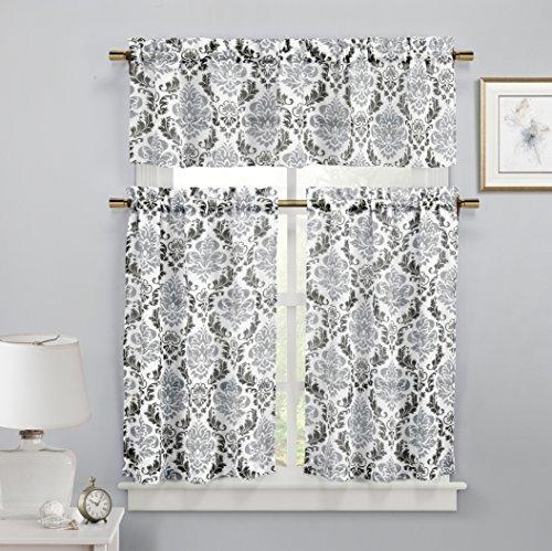 Duck River Textiles MEKBS=12/12122 2 Piece/1 Piece Melbourne Faux Linen Kitchen Curtain, 58×15/29×36″, Black/Silver