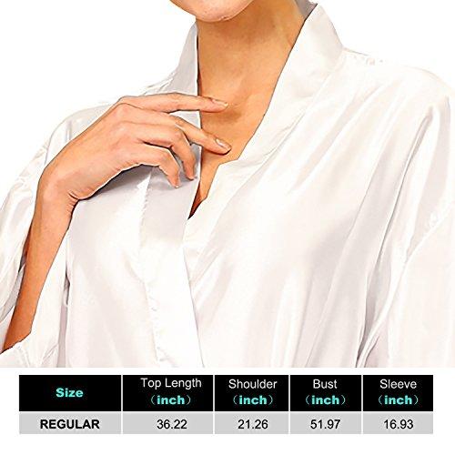 Dolamen Unisex Mujer Hombre Vestido Kimono Satén, Camisón para mujer, Lujoso Robe Albornoz Dama de honor Ropa de dormir Pijama, Busto 132 cm, 51,97inch, de gran tamaño para todos Blanco