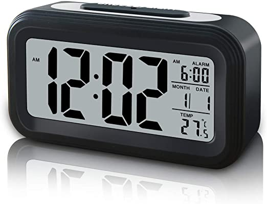 Digital Sensor Automatic Soft Light Snooze Desk Alarm Clock Date Temperature Lot