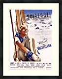 """Venite in Valtellina"" framed/museum matted Italy travel poster 42""x30"" vintage era"