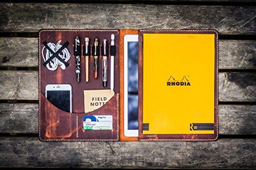 iPad Pro 12,9'' & Surface Pro Letter Size Leather Padfolio - Crazy Horse Orange by Galen Leather