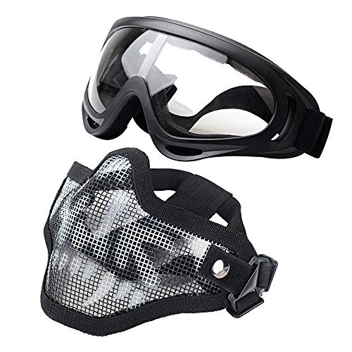 J&T Paintball Mask Steel Mesh Half Face Skull Mask + X400 UV Goggles for Airsoft Paintball Offroad Riding Skiing Snowmobile Cycling Halloween Costume Ball]()
