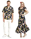 Made In Hawaii Premium Couple Matching Shirt Fluffy Muumuu Dress In Navy With Pink Floral 3XL-S
