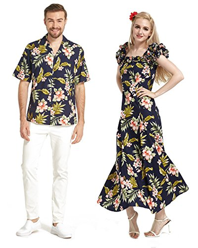 Made In Hawaii Premium Couple Matching Shirt Fluffy Muumuu Dress In Navy With Pink Floral 3XL-S by Hawaii Hangover