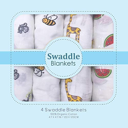 Muslin Swaddle Blankets - Soft Silky 100% Muslin Cotton Swaddle Blanket for Baby, Large 47 x 47 inches, Set of 4- Monkey, Bee, Ziraf & Watermelon Print in White -