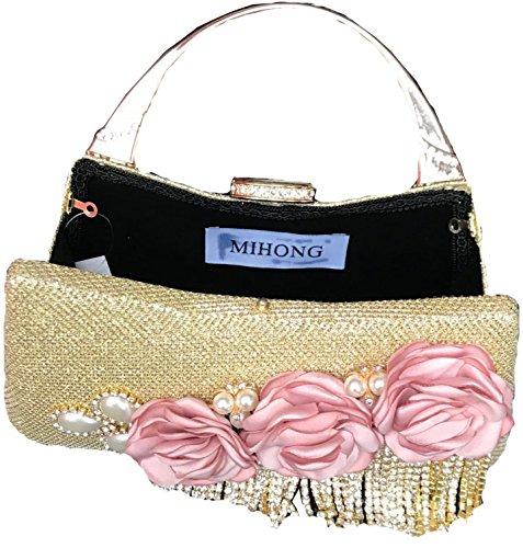 Dinner Evening Wedding Women for and Tassels Golden Bags Beaded Flowered Clutch Bags Purse Handbags zxAgnfWU