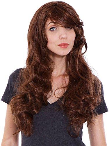 Women's Hair Cosplay Party Wigs Dark Brown Long Curly Bangs Full Wig - 3