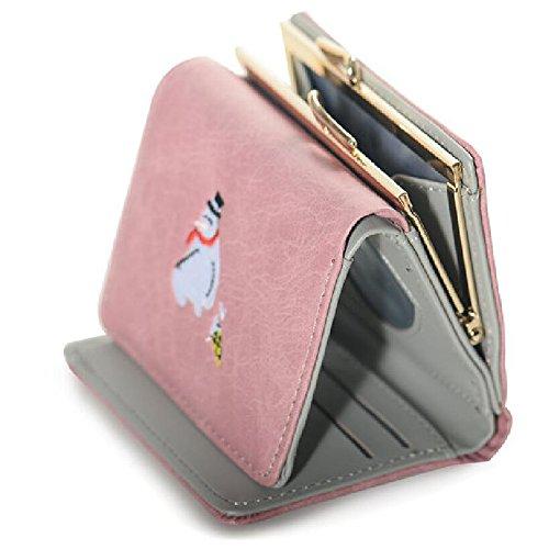 Adorable femmes monnaie Animal PU pour Cuir Filles Porte Trifold carte Gris sac Portefeuilles les Mini 0q7wa