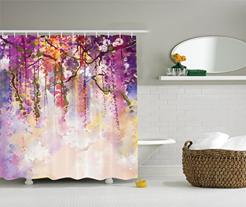 Ambesonne Watercolor Flower Decor Collection, Spring Flowers Wisteria Bokeh Background Painting, Polyester Fabric Bathroom Shower Curtain Set with Hooks, Navy Purple Peach White