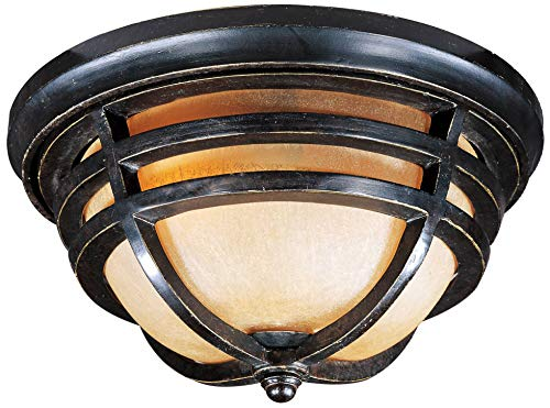 Finish Artesian Bronze - Maxim 40109MCAT Westport 2-Light Outdoor Ceiling Mount, Artesian Bronze Finish, Mocha Cloud Glass, MB Incandescent Incandescent Bulb , 60W Max., Dry Safety Rating, Standard Dimmable, Glass Shade Material, Rated Lumens