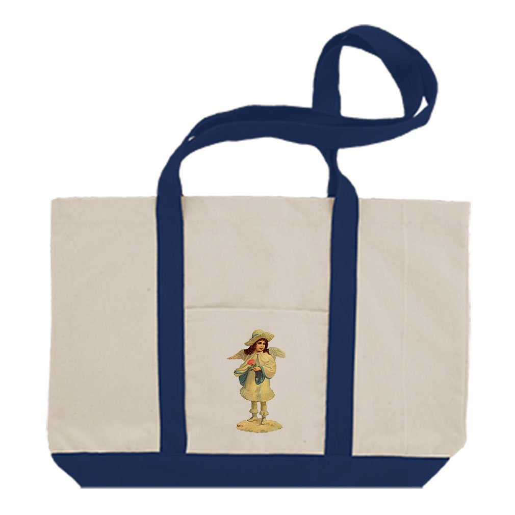 Canvas Boat Tote Bag Angel In Winter Coat Holds Red Rose By Style In Print | Royal Blue