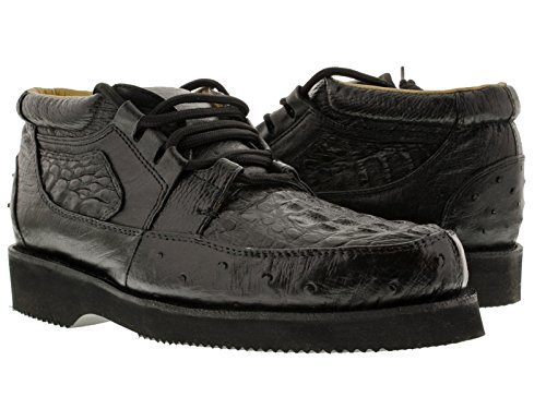 Alligator Skin (El Presidente - Men's Black All Real Crocodile & Ostrich Skin Cowboy Sneakers 12.5 E)