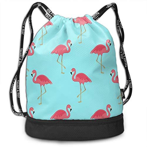 Drawstring Bag Shoulder Floral (Girls Boys Drawstring Backpack Theft Proof Lightweight Beam Backpack, Travel Shoulder Bags - Flamingo Floral Sky Blue Waterproof Backpack Soccer Basketball Bag)