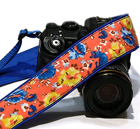 Floral cámara Correa. Naranja y azul correa de cámara réflex ...