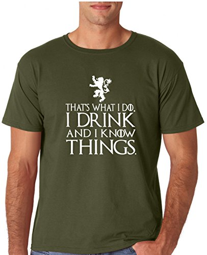 12.99 Prime Tees Adult That's What I Do I Drink and I Know Things T Shirt 2X-Large Military Green