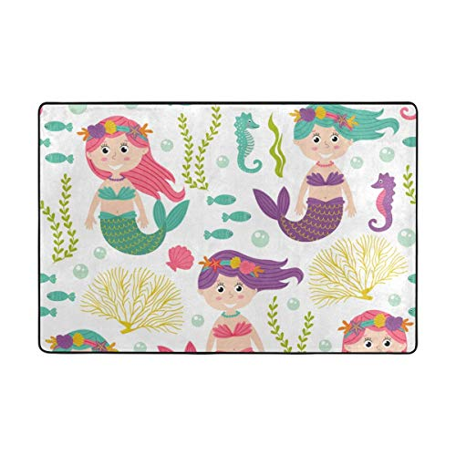 (CANCA Mermaid Fish Ocean Sea World Area Rug Cover Runner Floor Mat Carpet for Kids Boys Girls Bedroom Kitchen Office 60x39 inch or 5x3 Feet)
