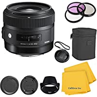 Sigma 30mm f/1.4 DC HSM CT Premium Lens Kit for Canon T4i, T5i, 60D, 70D, 7D, T3, T3i DSLR Cameras - International Version