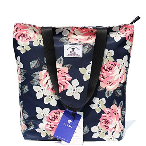 (Original Floral Tote Bag Shoulder Bag for Gym Hiking Picnic Travel Beach ([W] upgraded large size 6))