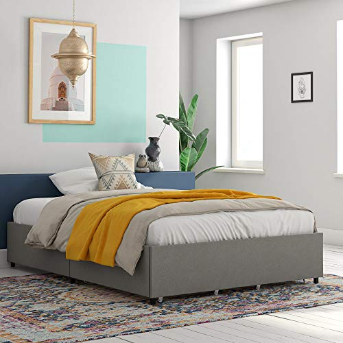 RealRooms Alden Platform Bed with Storage Drawers, Full, Gray Linen