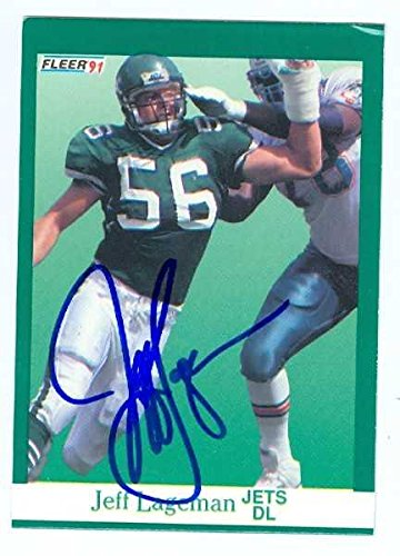 Jeff Lageman autographed Football Card (New York Jets) 1991 Fleer #151 - NFL Autographed Football Cards