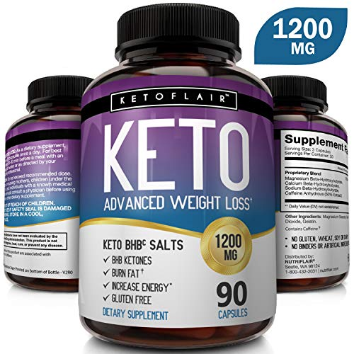 Best Keto Diet Pills 1200mg (90 Capsules) Advanced Weight Loss Ketosis Supplement - Natural BHB Salts (beta hydroxybutyrate) Ketogenic Fat Burner, Carb Blocker, Non-GMO - Best Weight Loss Support