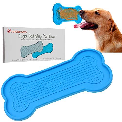 AmOganer Dog Bath Washing Tub, Food Grade Silicone Bathing Peanut Butter Partner Pad Gadget for Pet Puppy Dogs - Blue