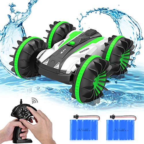 allcaca Waterproof Remote Control Car Boat - 2.4Ghz All Terrain RC Cars - 1/18 Scale Double Sides Stunt Vehicle with 360 Degree Spins and Flips Green (Land Speed Car)